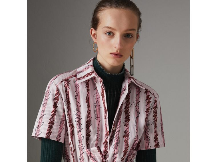 Scribble Stripe Cotton Shirt Dress in Light Pink - Women | Burberry United Kingdom - cell image 1