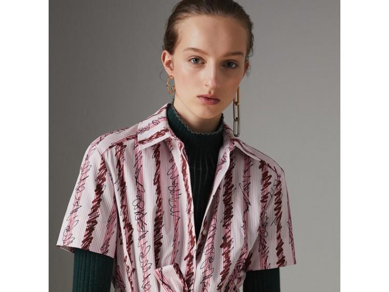 스크리블 스트라이프 코튼 셔츠 드레스 (라이트 핑크) - 여성 | Burberry - cell image 1
