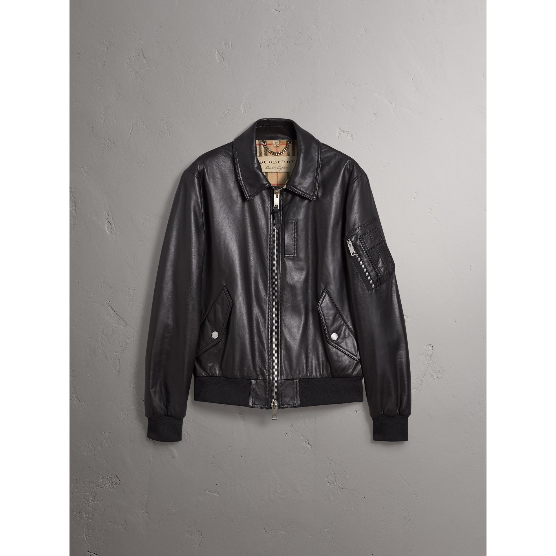 Point Collar Lambskin Bomber Jacket in Black - Men | Burberry - gallery image 4