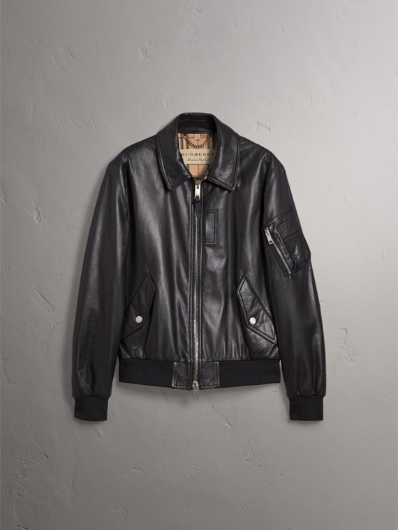 Point Collar Lambskin Bomber Jacket in Black - Men | Burberry United Kingdom - cell image 3