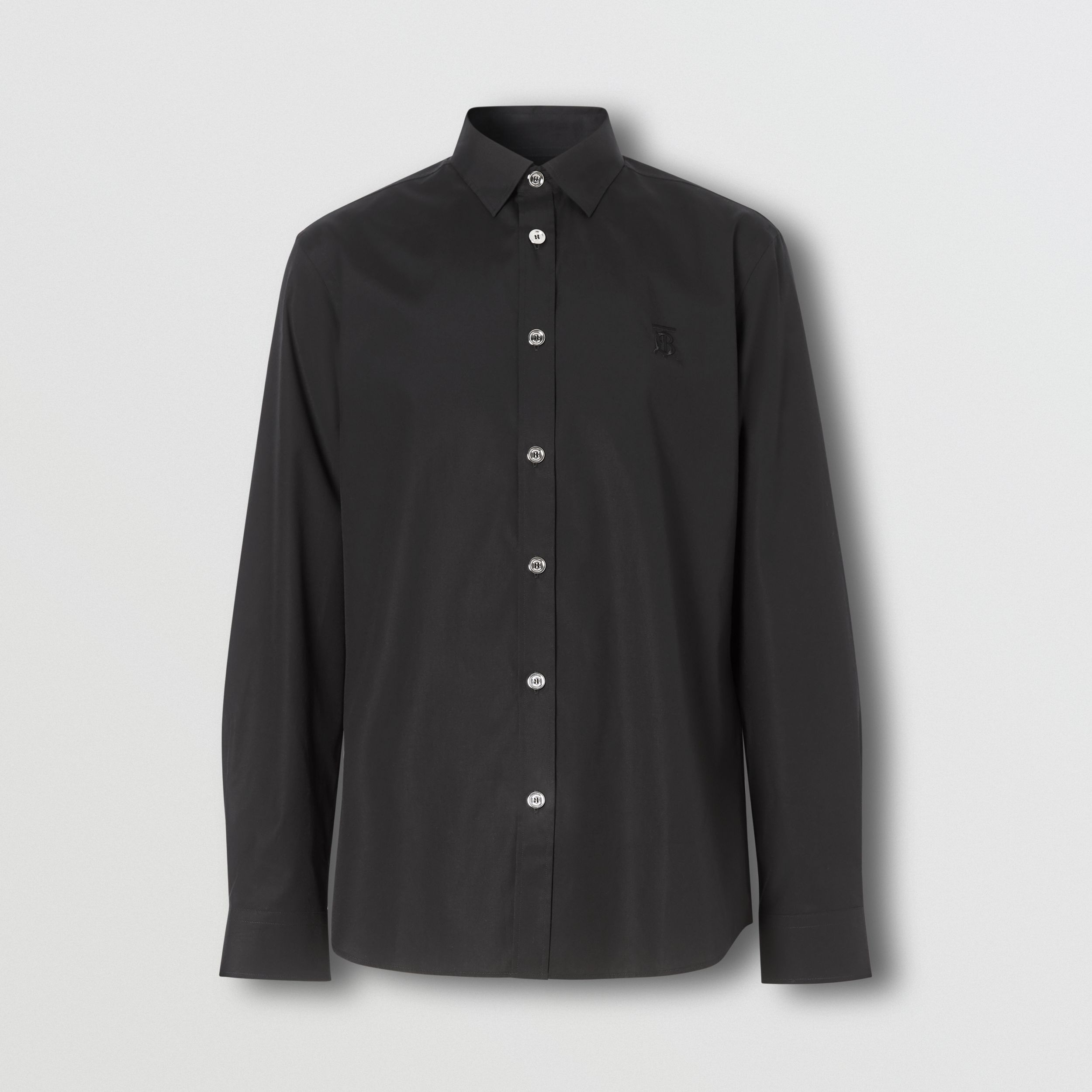Monogram Motif Stretch Cotton Poplin Shirt in Black - Men | Burberry - 4