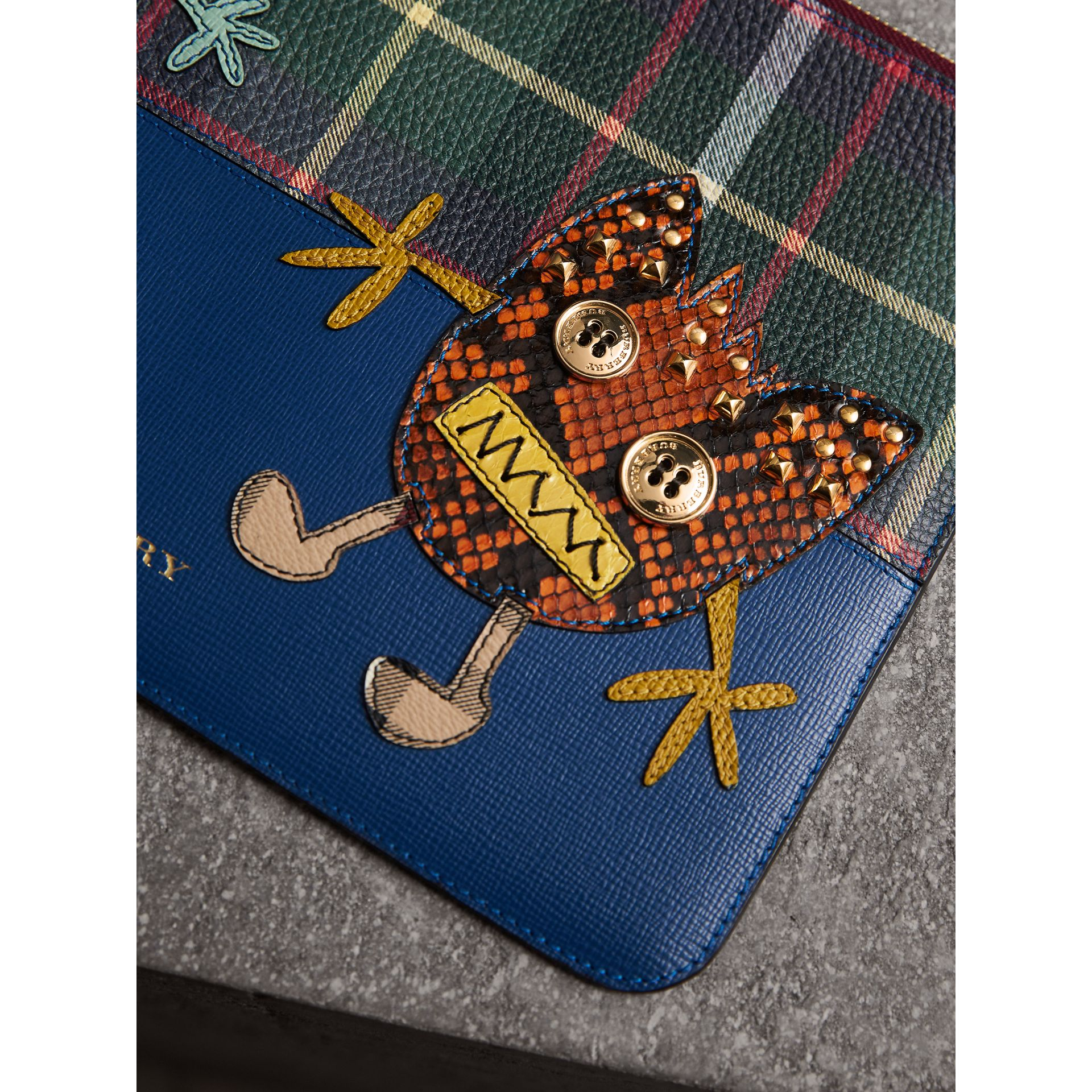 Creature Appliqué Leather Pouch in Deep Blue - Men | Burberry - gallery image 1