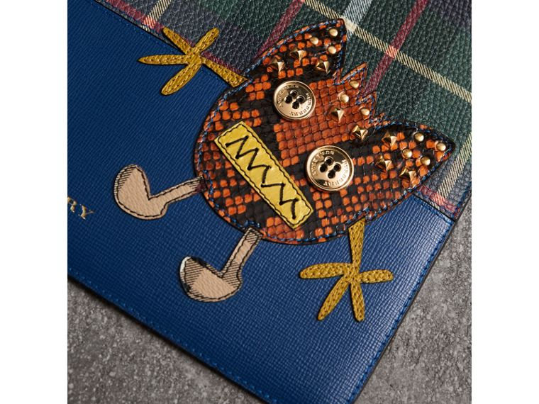 Creature Appliqué Leather Pouch in Deep Blue - Men | Burberry Australia - cell image 1