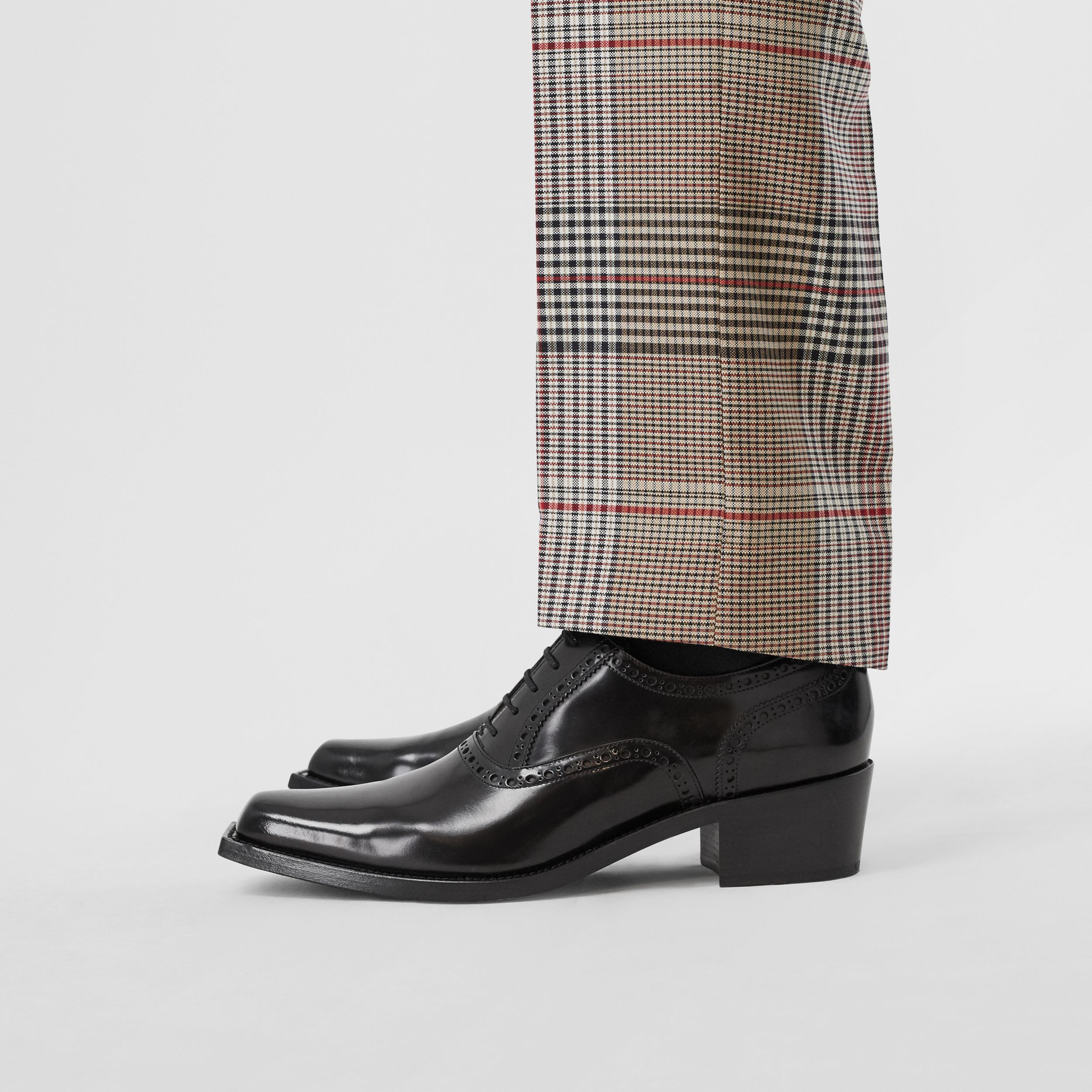 D-ring Detail Leather Heeled Oxford Brogues in Black | Burberry - 3
