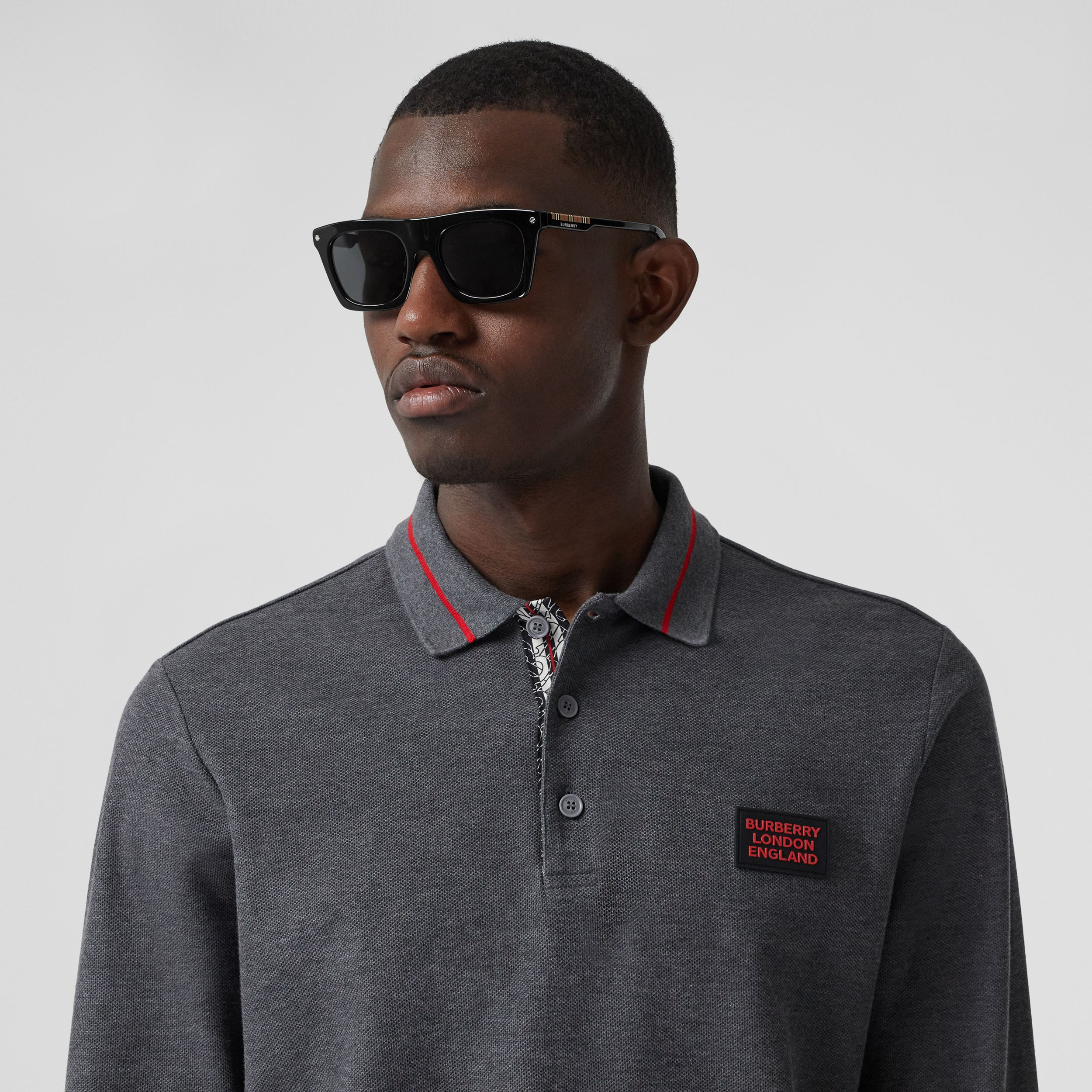 Long-sleeve Logo Appliqué Cotton Polo Shirt in Mid Grey Melange - Men | Burberry Canada - 2