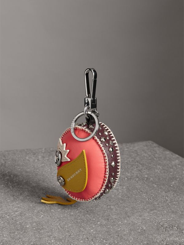 Derek The Bird Leather Charm in Deep Claret - Women | Burberry - cell image 3