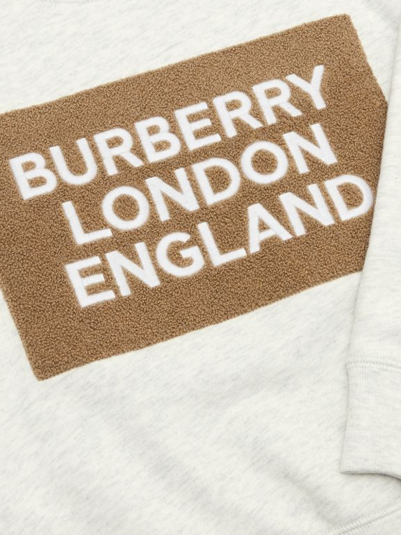 Logo Detail Jersey Sweatshirt in White Melange | Burberry United States - cell image 1