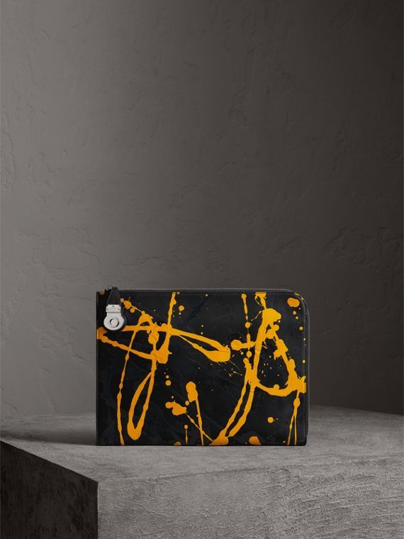 Splash Trench Leather Document Case in Black/yellow