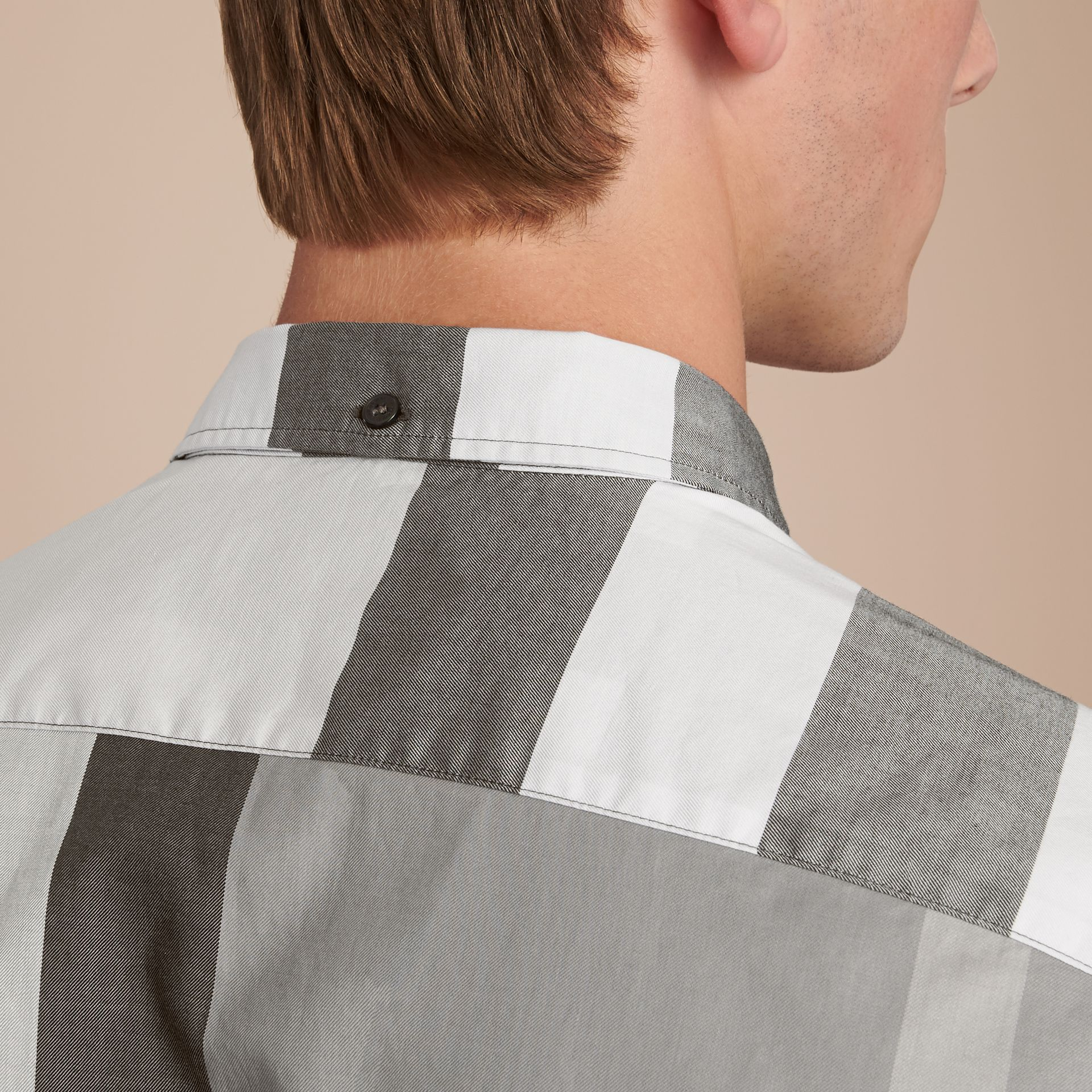 Button-down Collar Short-sleeve Check Cotton Shirt in Light Grey - Men | Burberry - gallery image 5