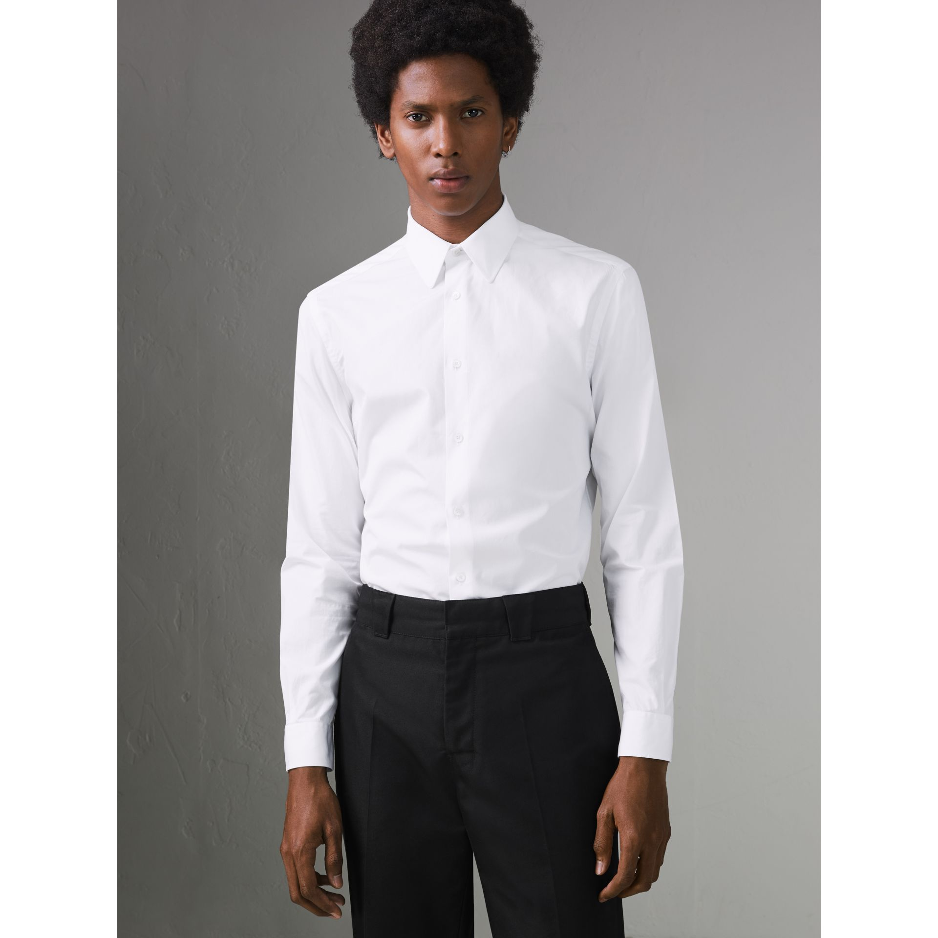 Slim Fit Cotton Poplin Shirt in White - Men | Burberry Canada - gallery image 0