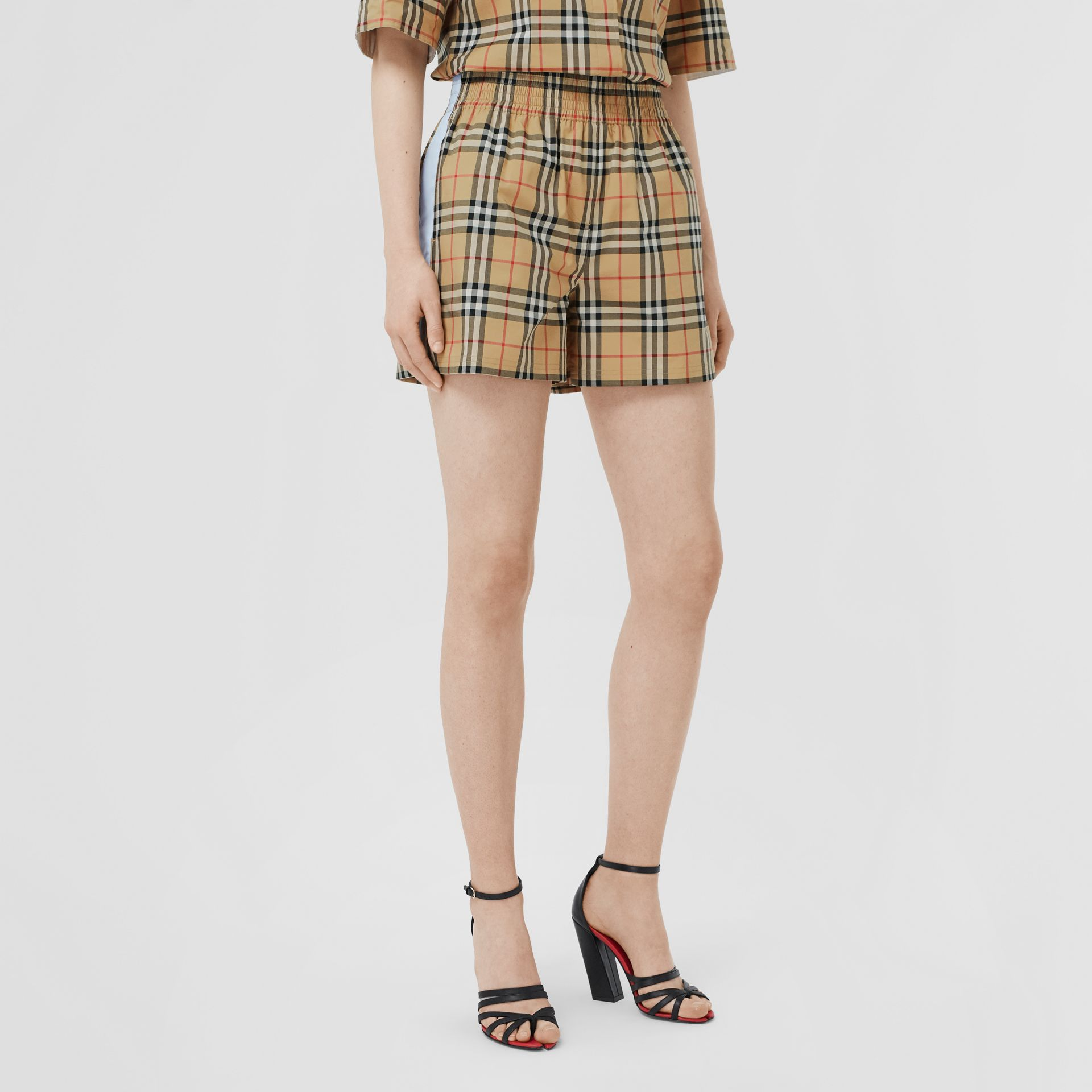 Vintage Check Stretch Cotton Shorts in Archive Beige - Women | Burberry United Kingdom - gallery image 4