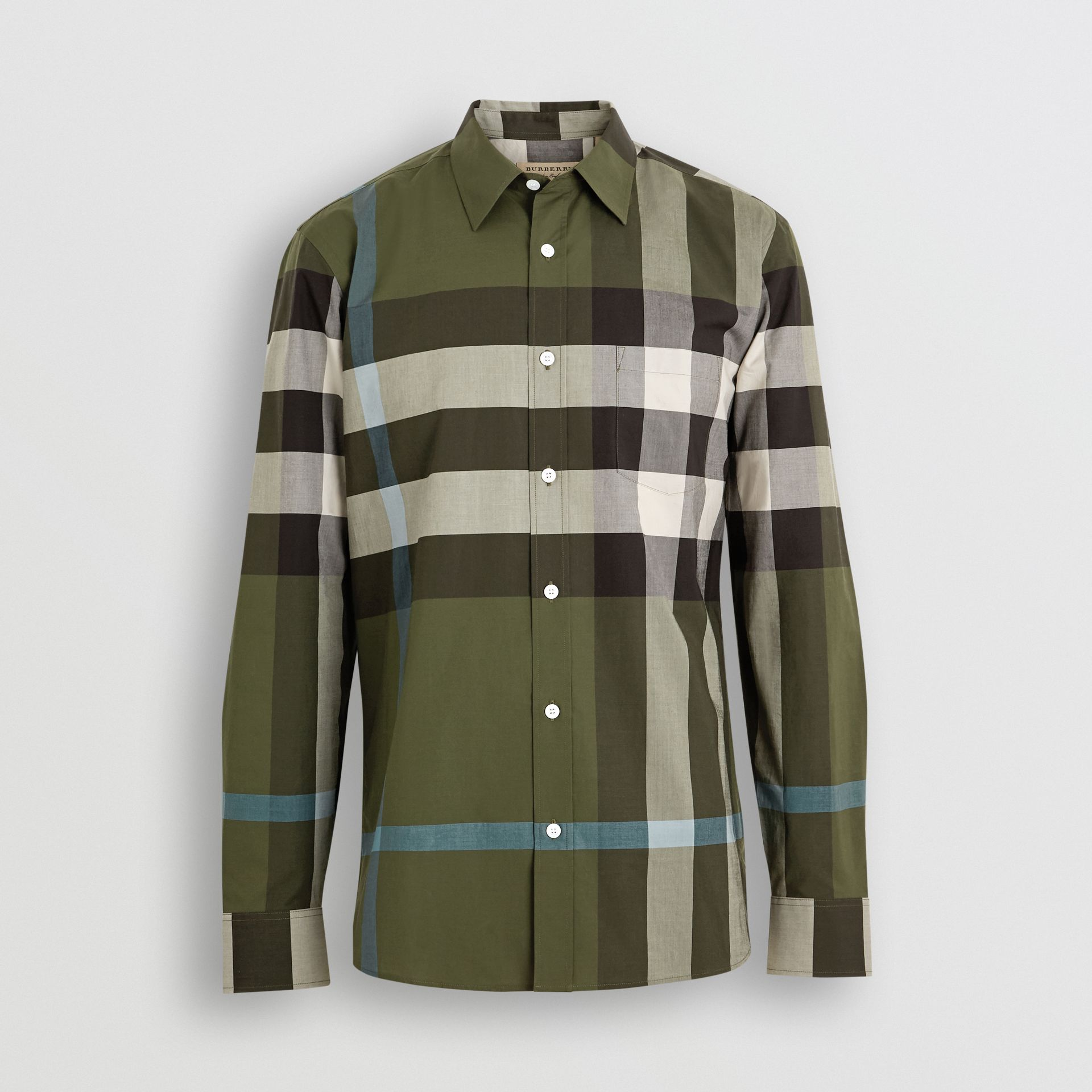 Check Stretch Cotton Shirt in Antique Green - Men | Burberry Hong Kong - gallery image 3