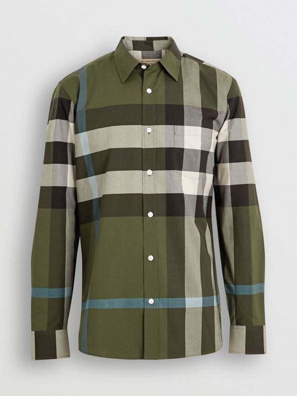 Check Stretch Cotton Shirt in Antique Green - Men | Burberry - cell image 3
