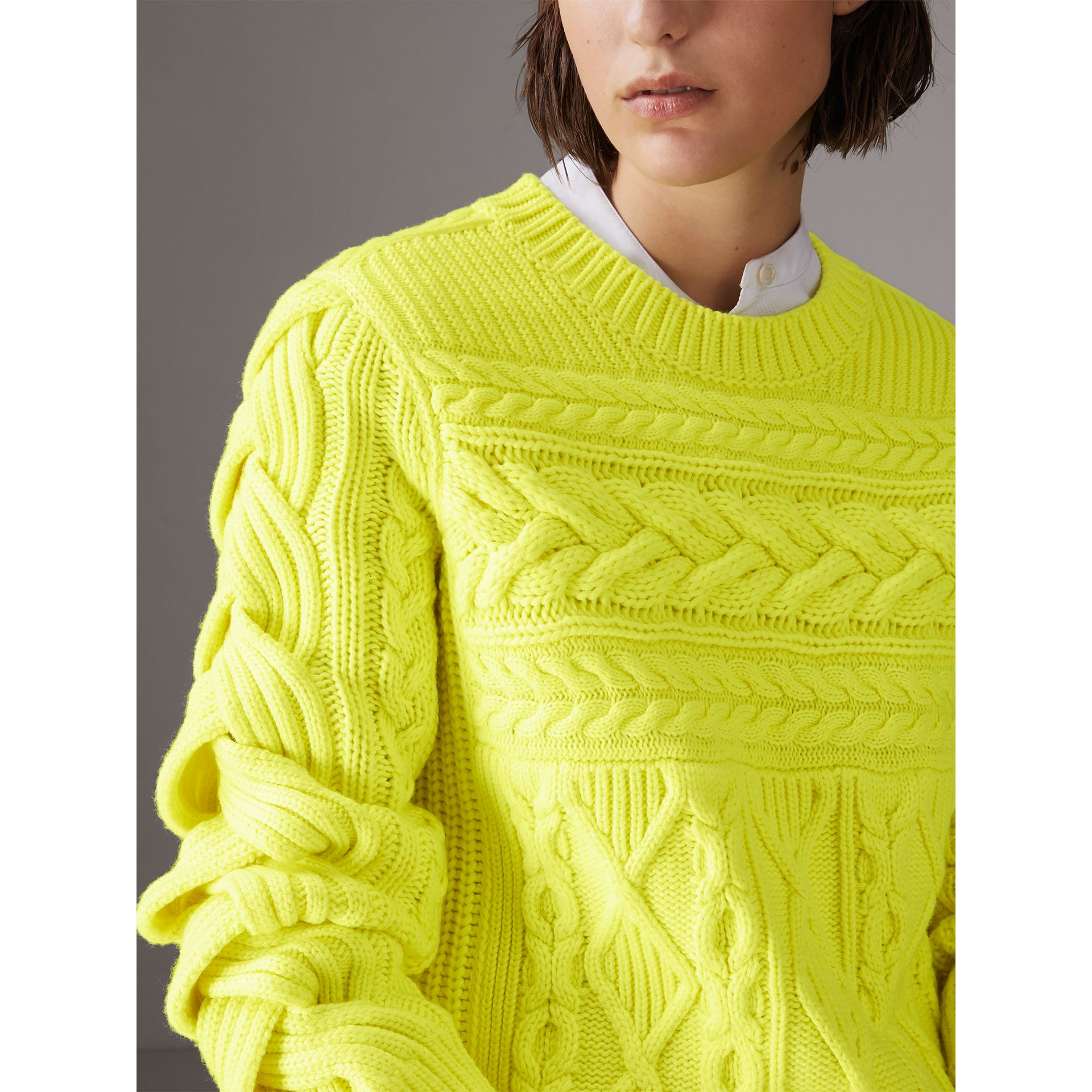 Aran Knit Wool Cashmere Sweater in Fluorescent Yellow - Women | Burberry - gallery image 1