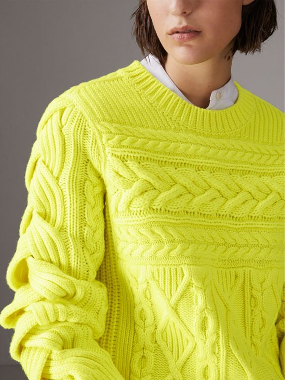 Aran Knit Wool Cashmere Sweater in Fluorescent Yellow - Women | Burberry - cell image 1