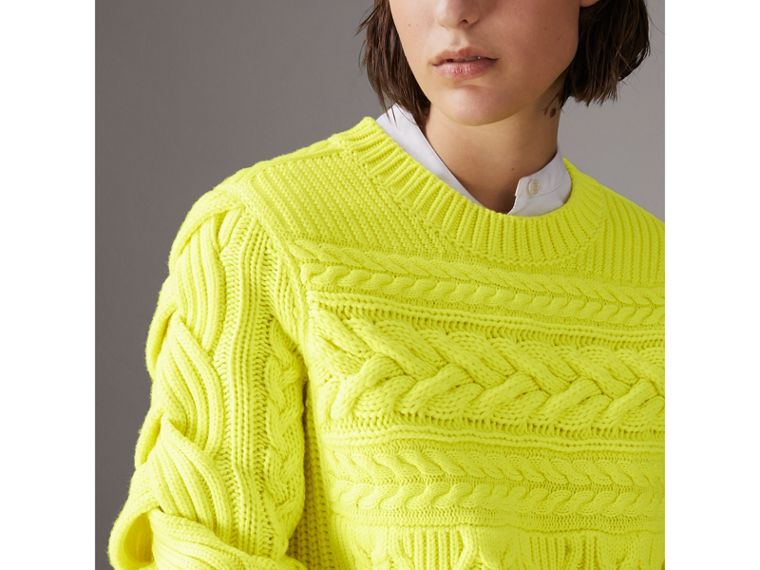 Aran Knit Wool Cashmere Sweater in Fluorescent Yellow - Women | Burberry Canada - cell image 1