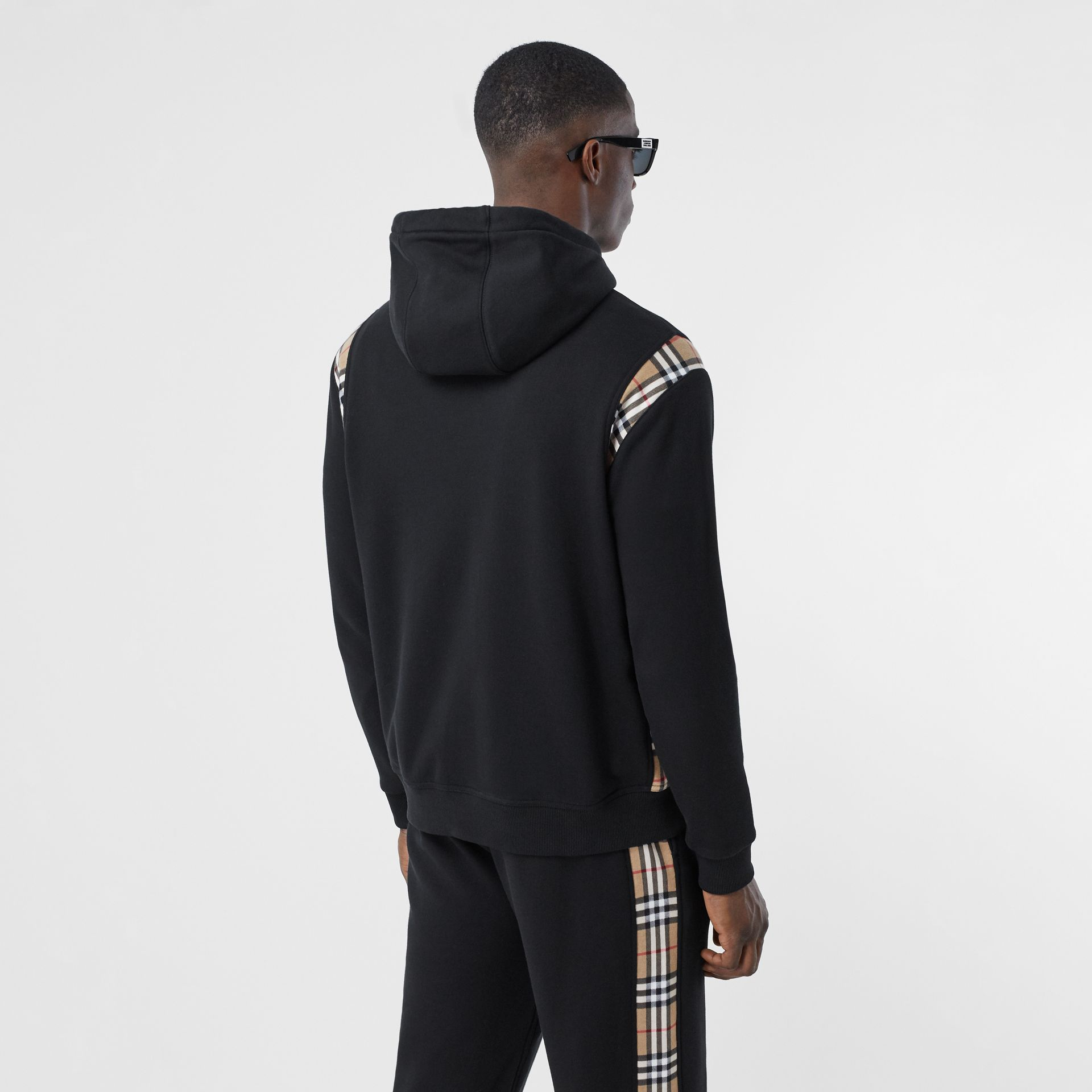 Vintage Check Panel Cotton Hoodie in Black | Burberry - gallery image 2