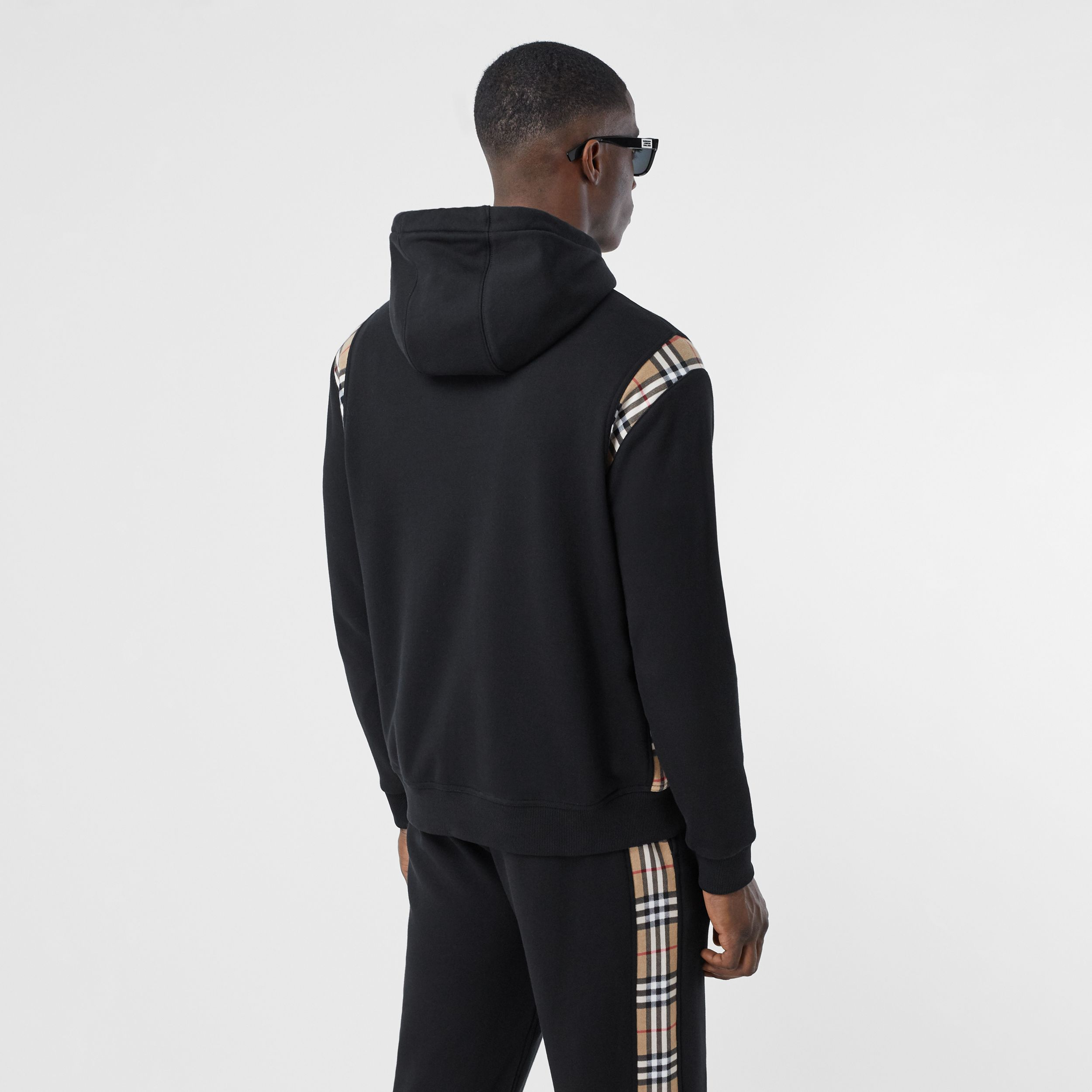 Vintage Check Panel Cotton Hoodie in Black - Men | Burberry - 3