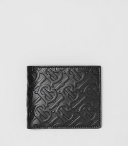 8d0aa23d5f6 Monogram Leather Bifold Wallet with ID Card Case in Black