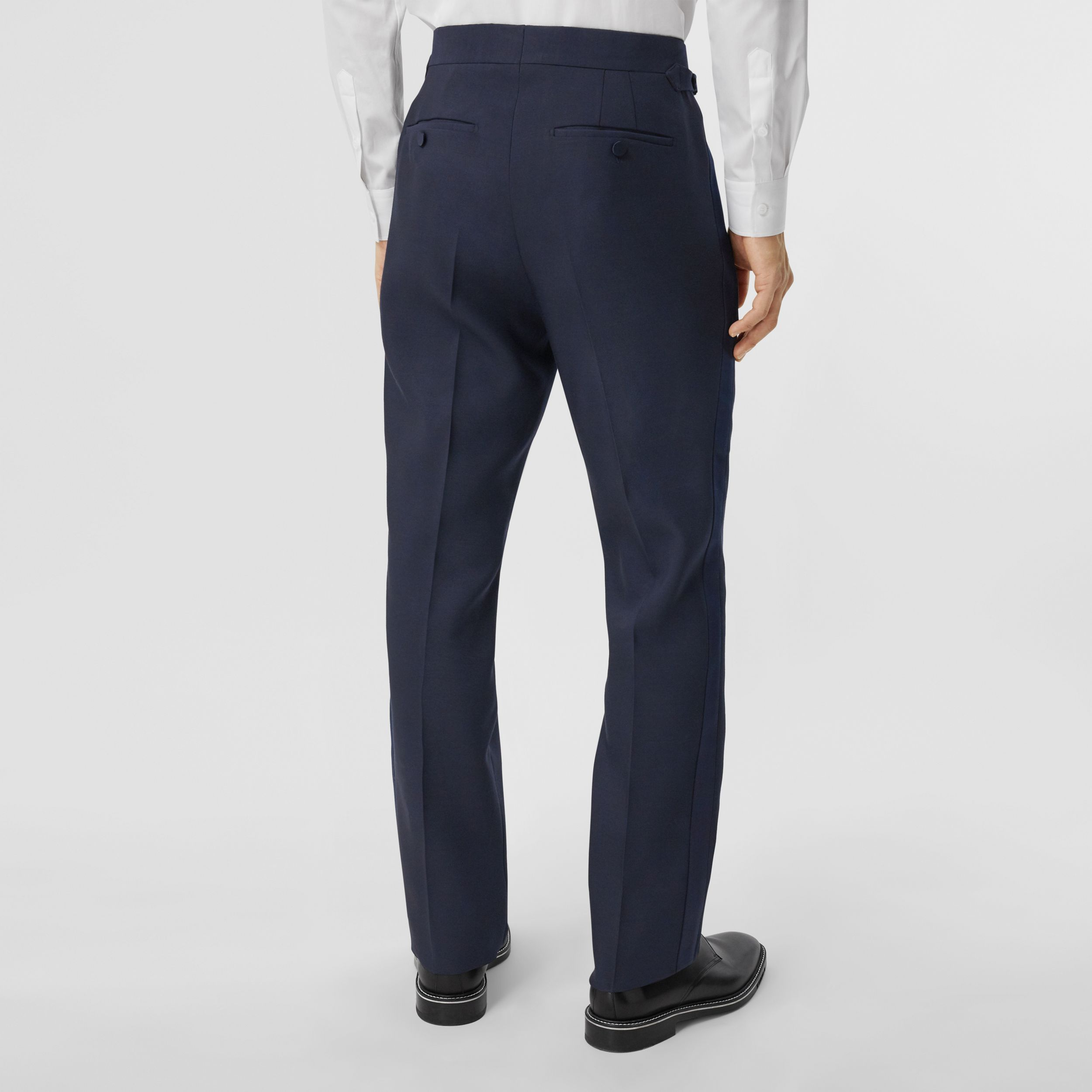 Classic Fit Wool Silk Blend Tailored Trousers in Navy - Men | Burberry - 3