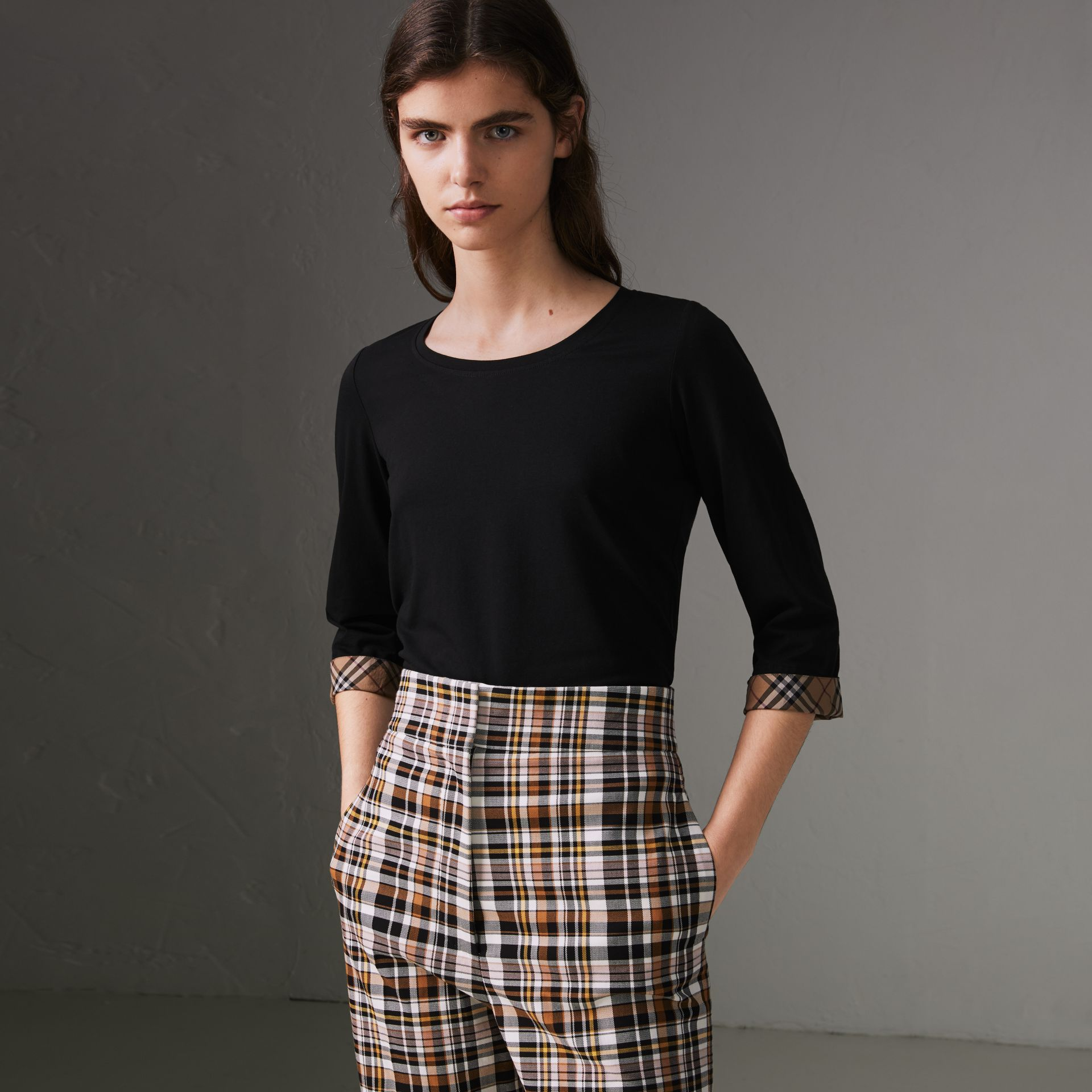 Check Detail Stretch Cotton Top in Black - Women | Burberry - gallery image 0