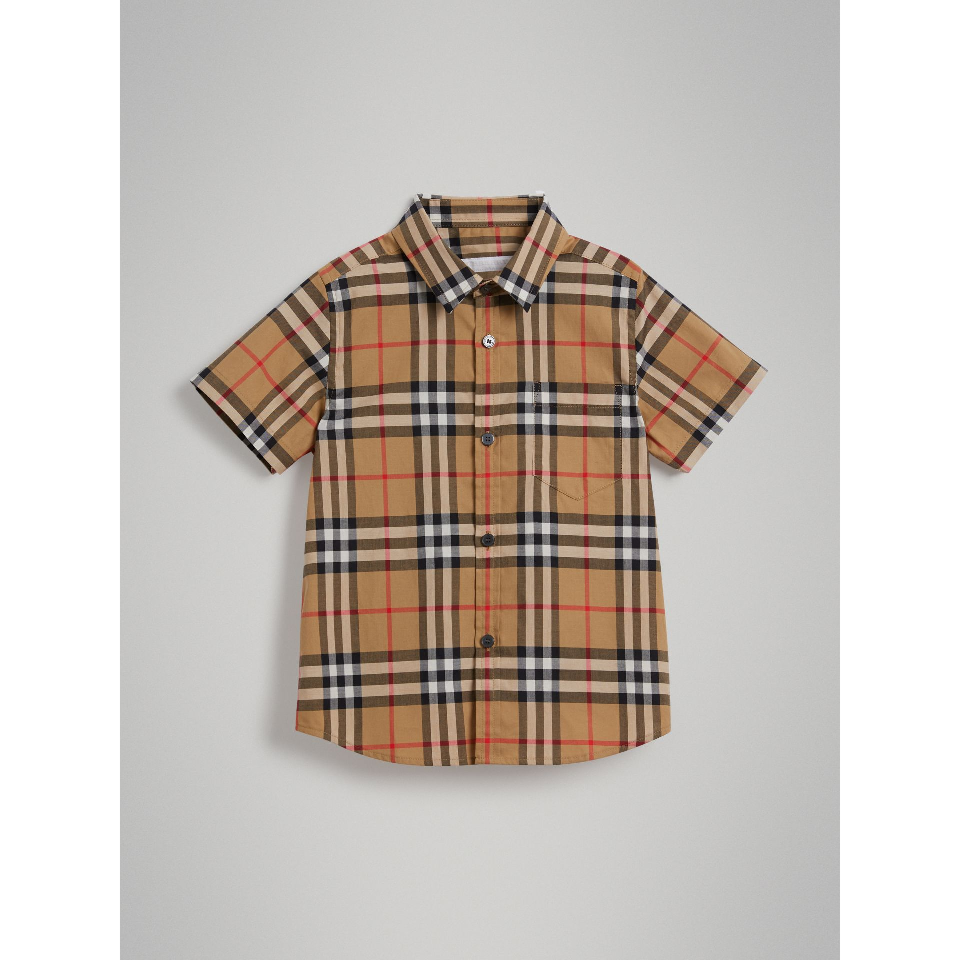 Short-sleeve Vintage Check Cotton Shirt in Antique Yellow - Boy | Burberry Australia - gallery image 0
