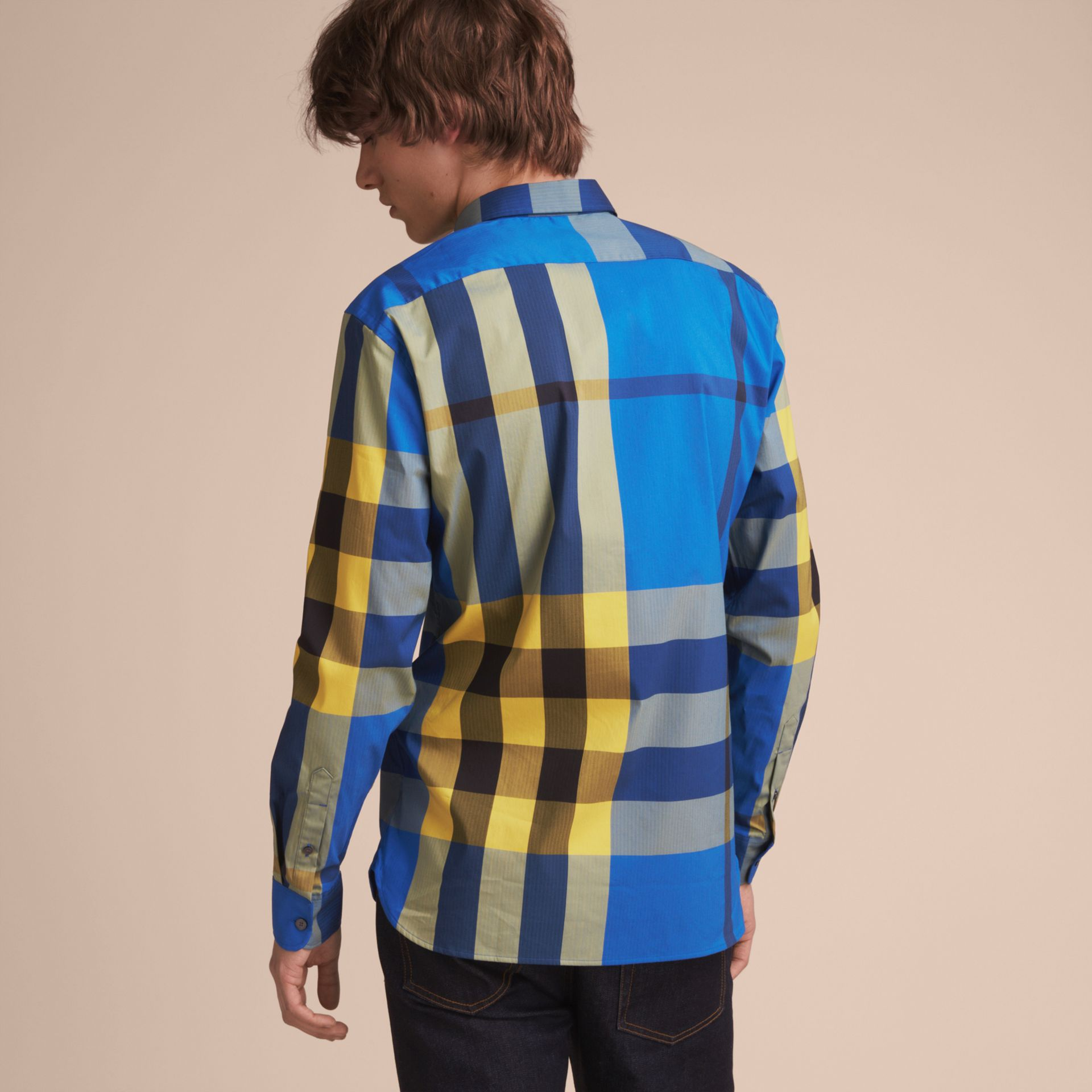Button-down Collar Check Stretch Cotton Blend Shirt in Bright Canvas Blue - Men | Burberry - gallery image 3