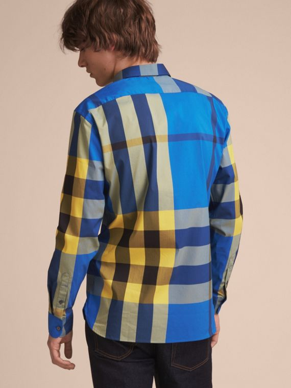 Button-down Collar Check Stretch Cotton Blend Shirt in Bright Canvas Blue - Men | Burberry - cell image 2