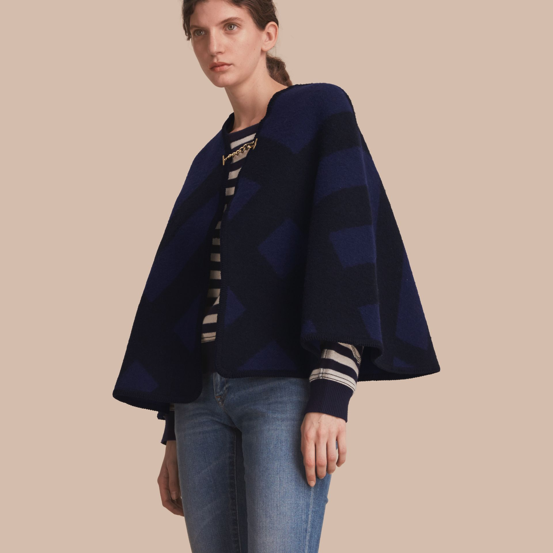 Check Wool Cashmere Blanket Cape in Navy - Women | Burberry - gallery image 1