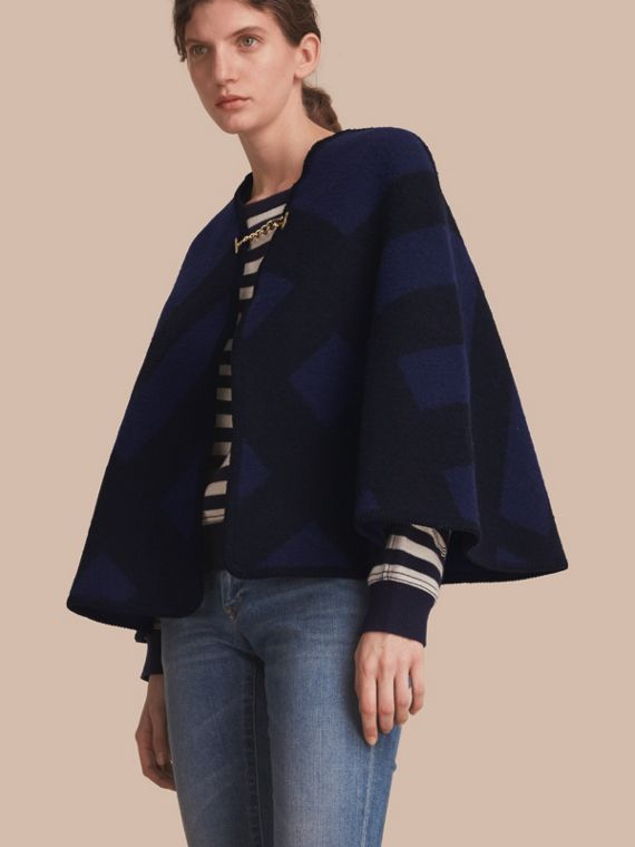 Check Wool Cashmere Blanket Cape in Navy - Women | Burberry
