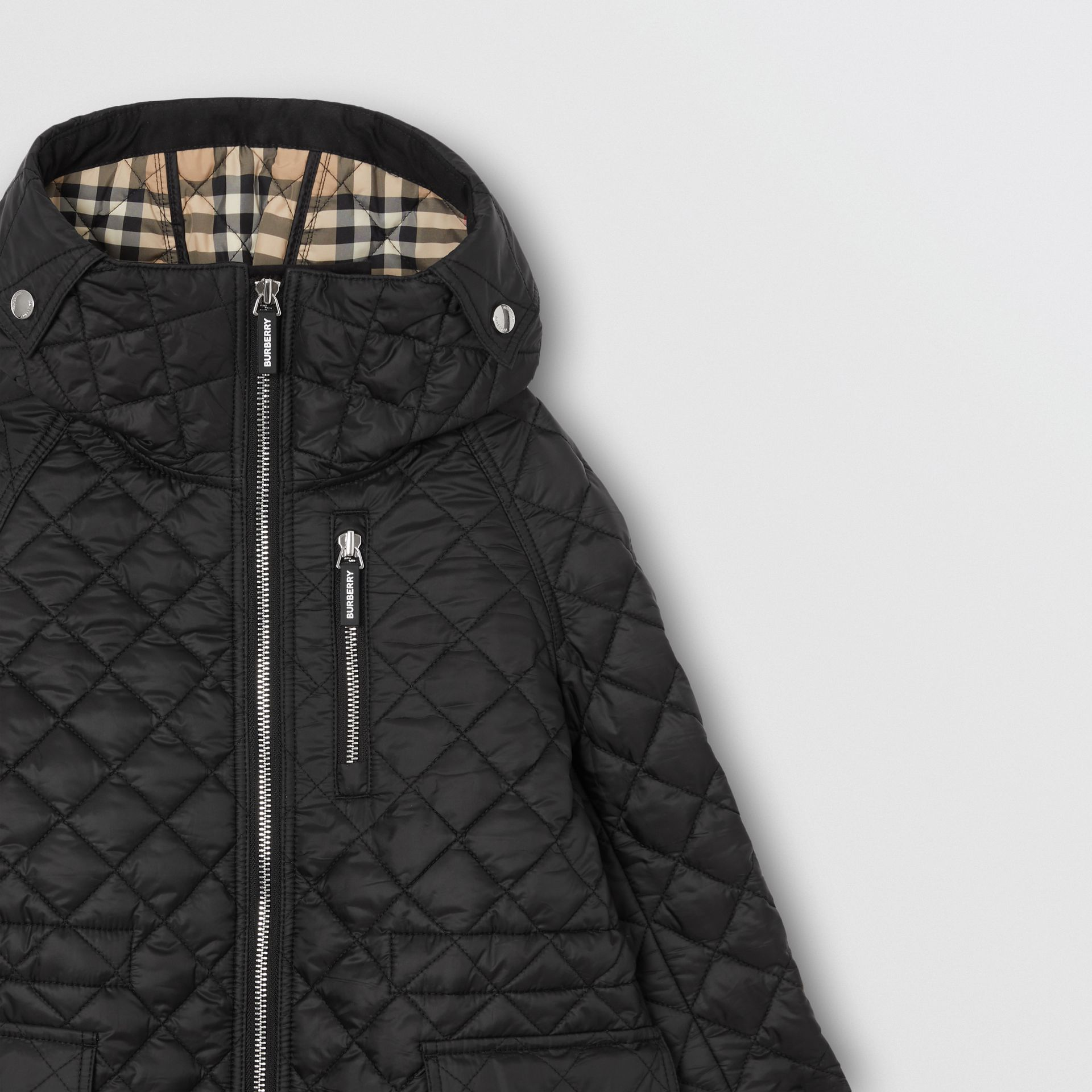 Diamond Quilted Hooded Coat in Black | Burberry - gallery image 4