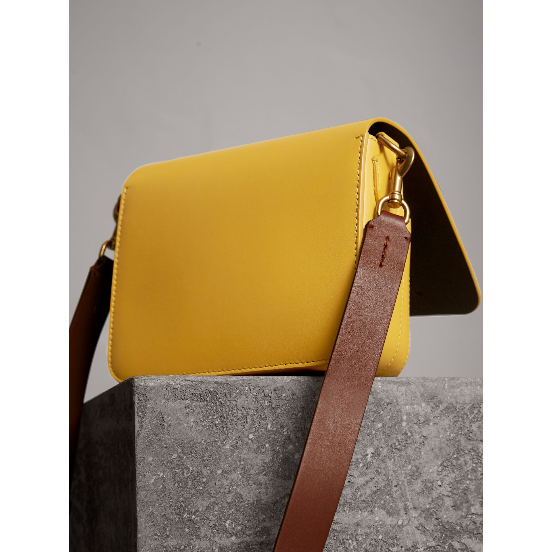 The Square Satchel in Leather in Larch Yellow - Women | Burberry Australia - gallery image 4
