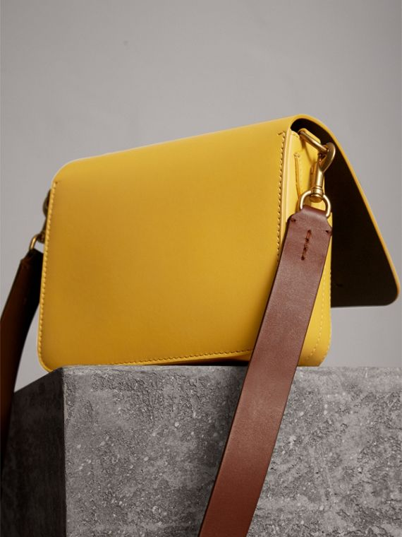 The Square Satchel in Leather in Larch Yellow - Women | Burberry Australia - cell image 3