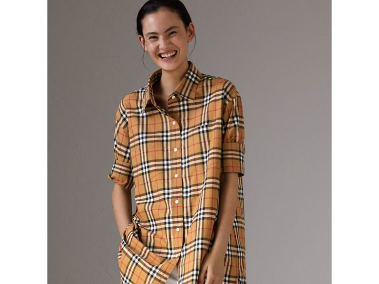 Vintage Check Cotton Shirt in Antique Yellow - Women | Burberry United Kingdom - cell image 4