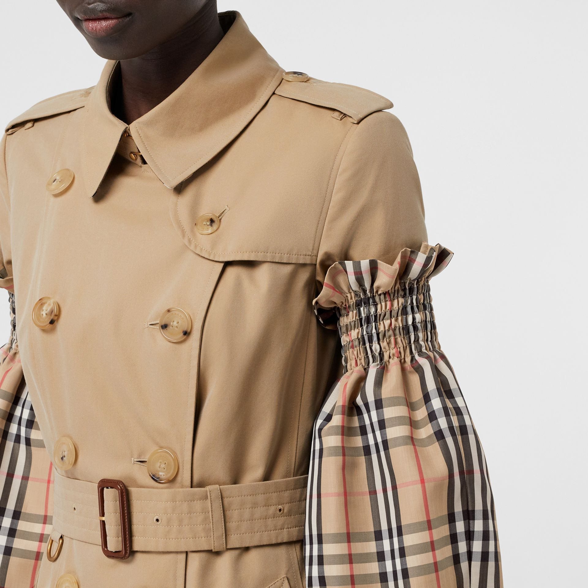 Vintage Check Puff Sleeves in Archive Beige - Women | Burberry - gallery image 4