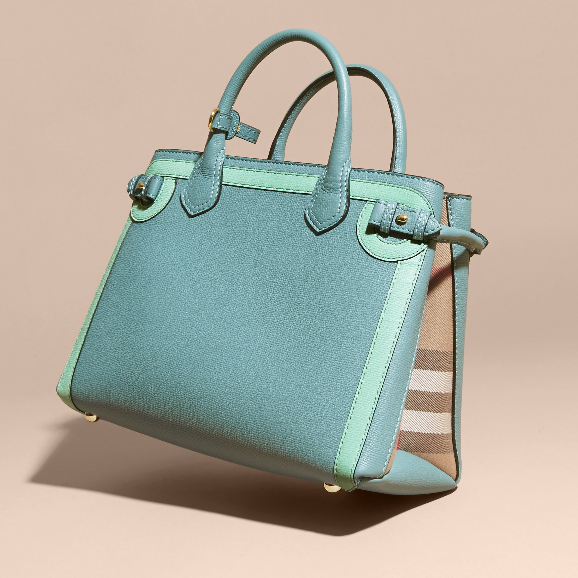 The Medium Banner in Leather with Tonal Appliqué in Celadon Blue - Women | Burberry - gallery image 5