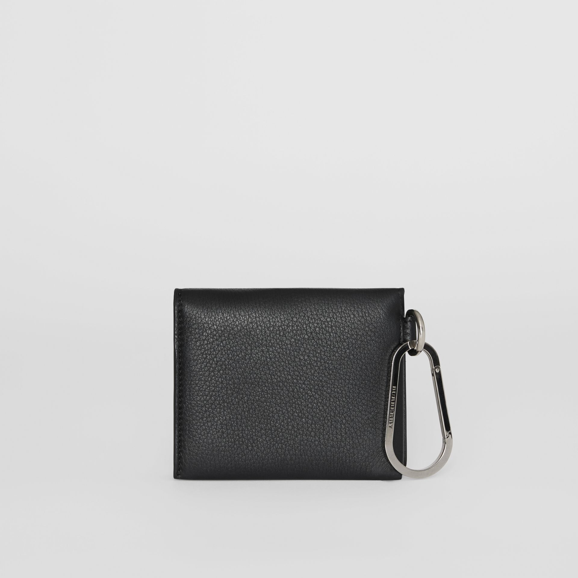 Grainy Leather Trifold Wallet in Black | Burberry - gallery image 4