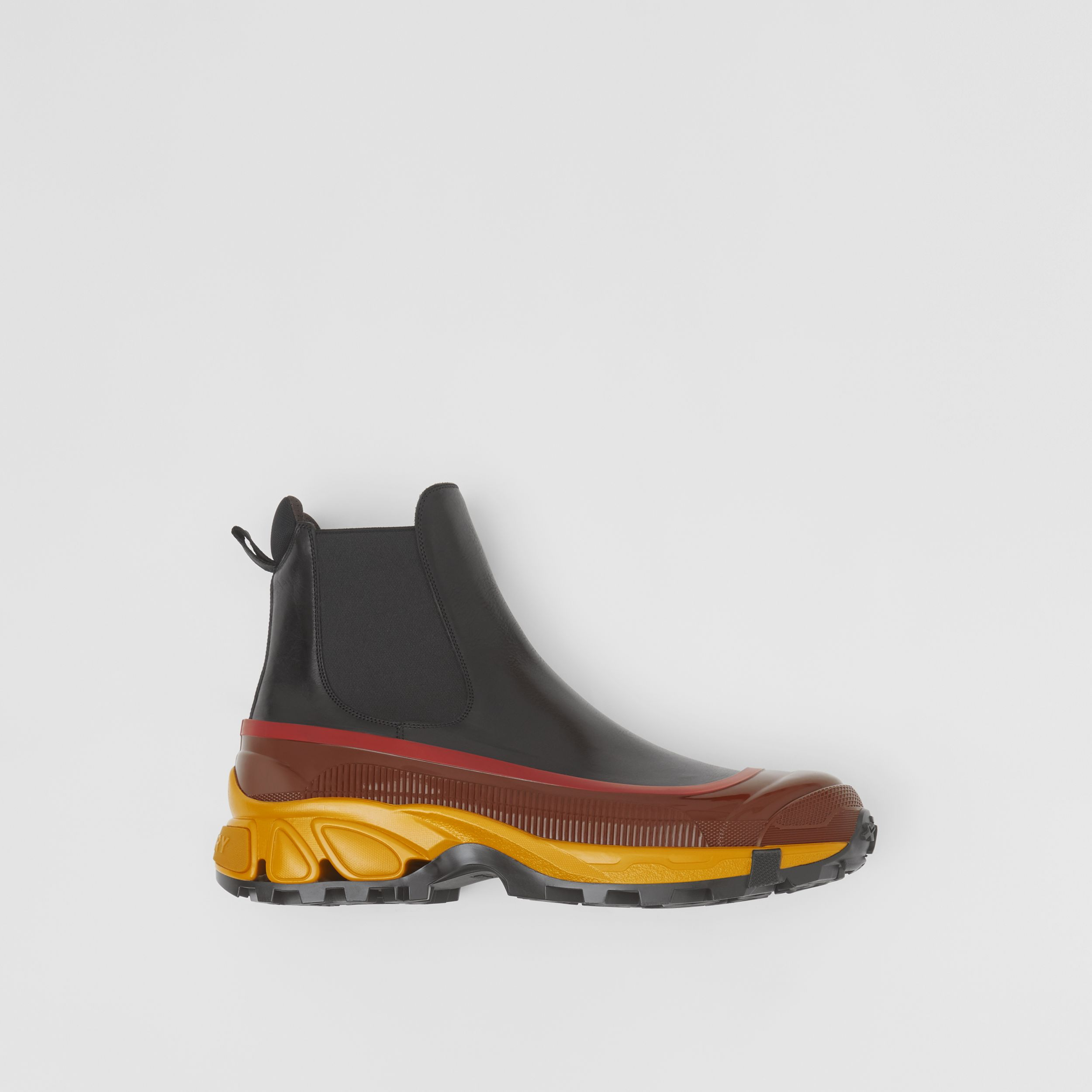 Contrast Sole Leather Chelsea Boots in Black - Men | Burberry - 1