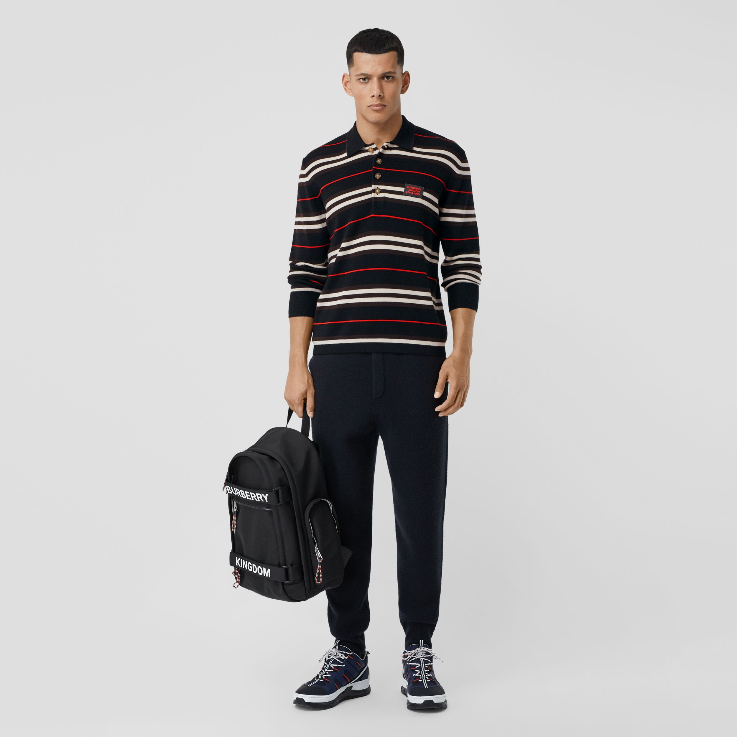 Long-sleeve Icon Stripe Merino Wool Polo Shirt in Black - Men | Burberry United States - 1
