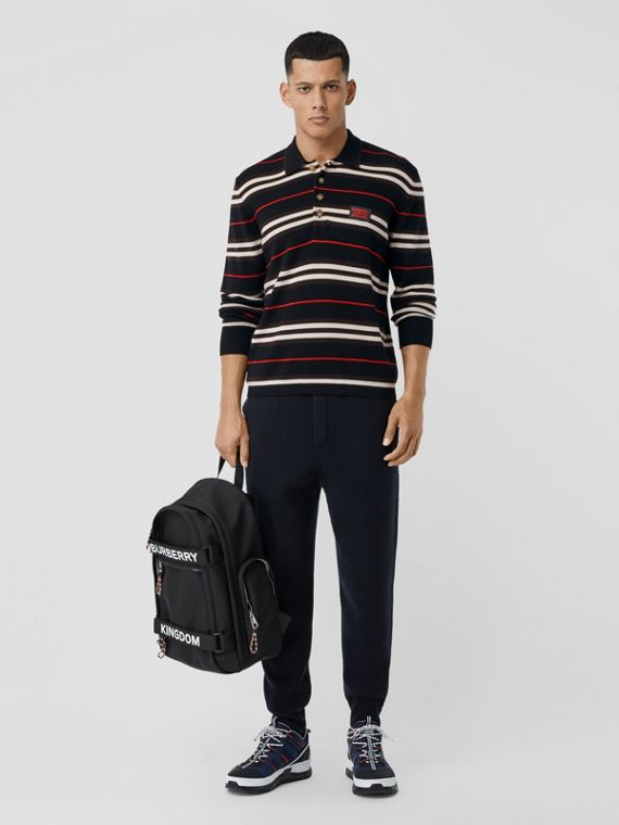 Long-sleeve Icon Stripe Merino Wool Polo Shirt in Black