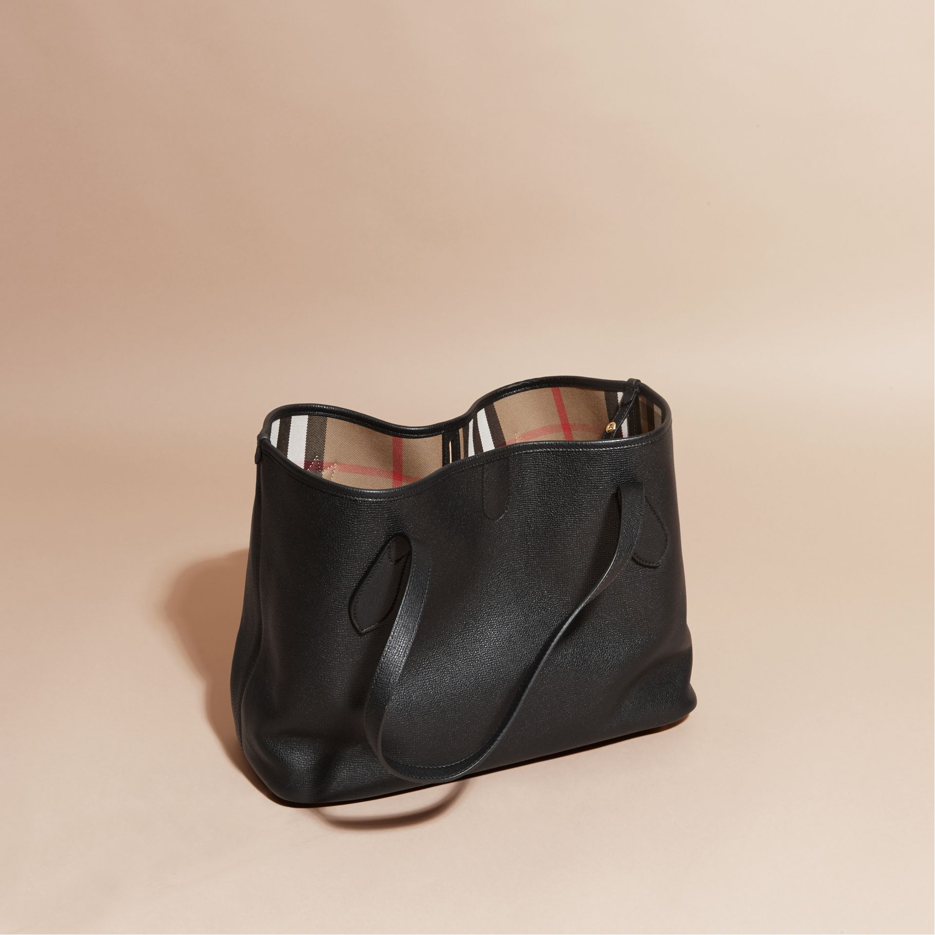 Black Medium Grainy Leather Tote Bag Black - gallery image 4