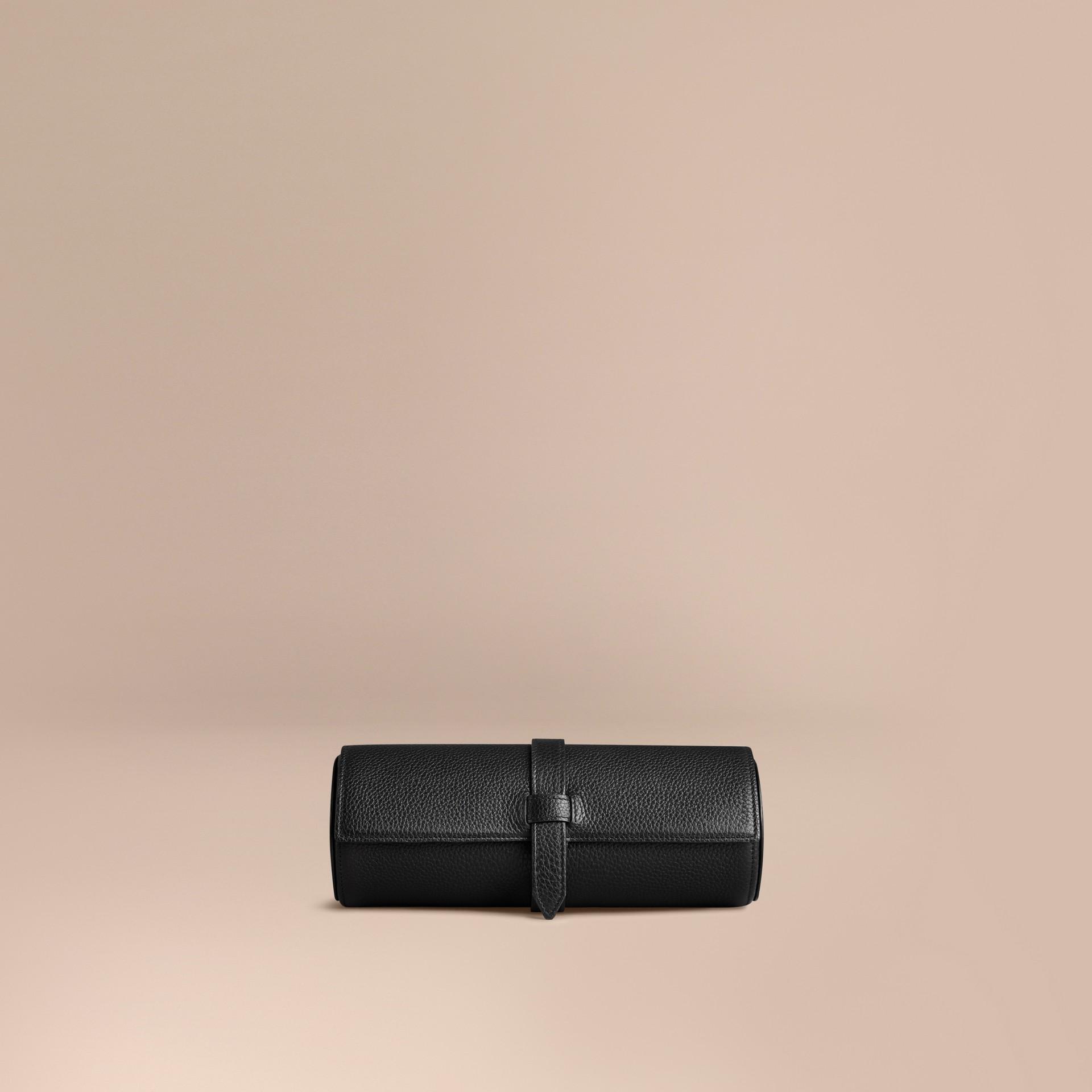 Nero Custodia per orologi in pelle a grana Nero - immagine della galleria 1