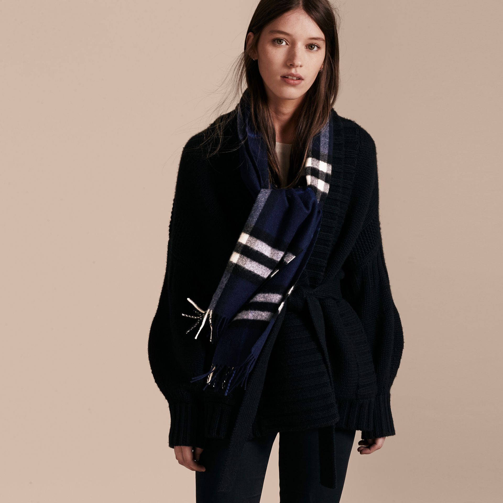 The Classic Cashmere Scarf in Check Indigo Blue - gallery image 3