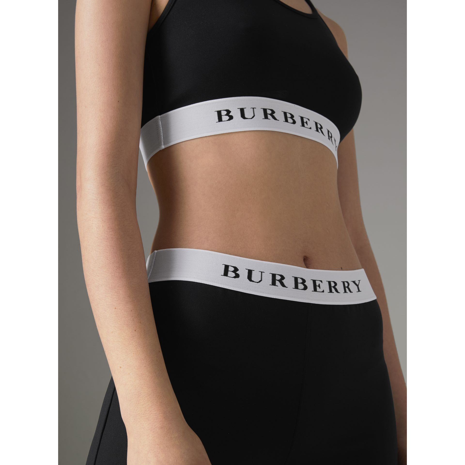 Logo Stretch Jersey Bra Top in Black - Women | Burberry - gallery image 1