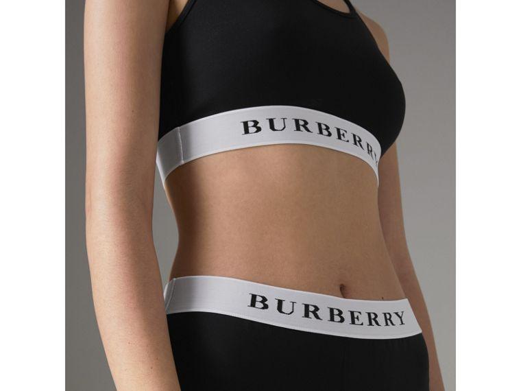 Logo Stretch Jersey Bra Top in Black - Women | Burberry United Kingdom - cell image 1