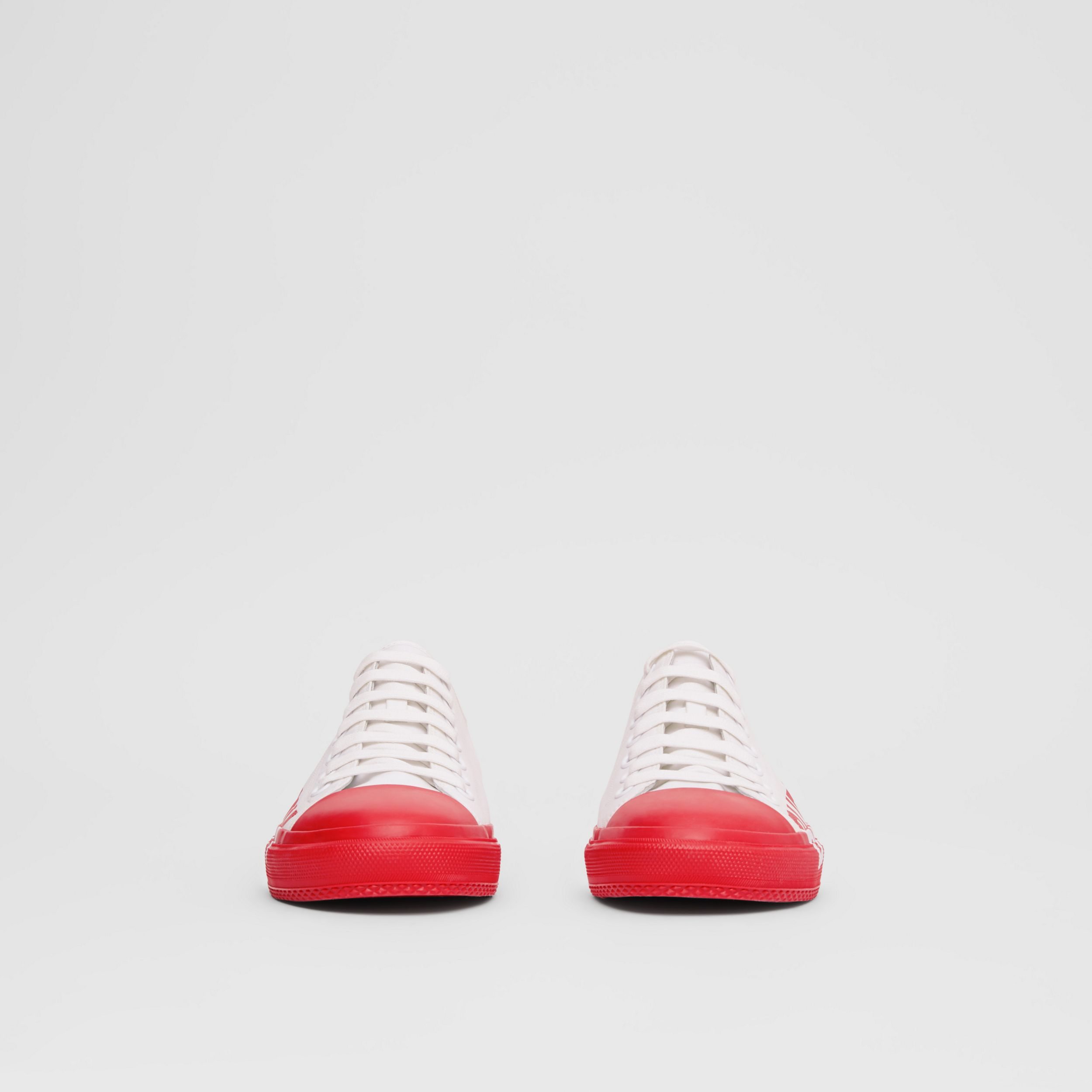 Logo Print Two-tone Cotton Gabardine Sneakers in Bright Red - Men | Burberry - 3