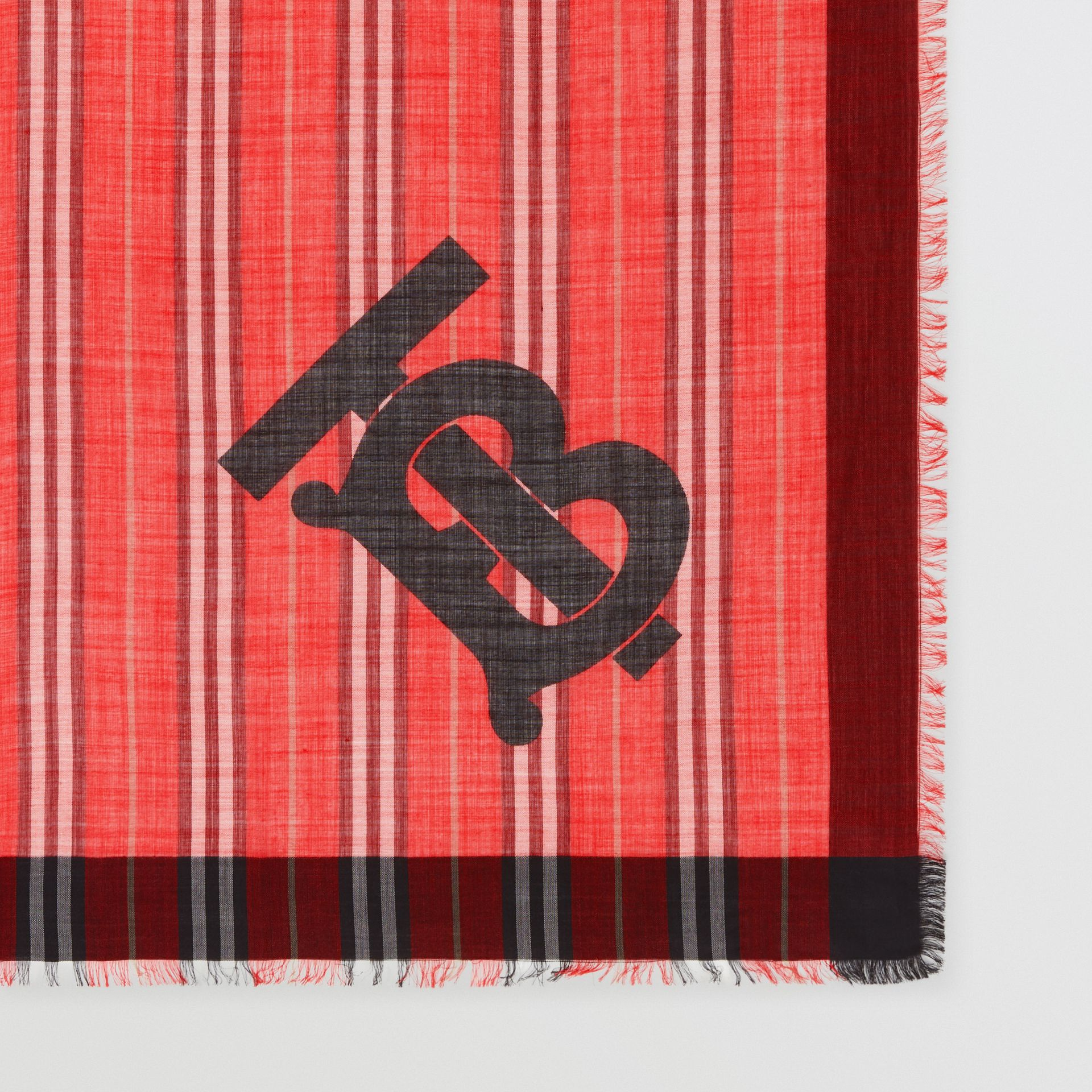 Monogram Icon Stripe Wool Silk Large Square Scarf in Bright Red | Burberry - gallery image 1