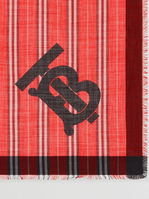 Monogram Icon Stripe Wool Silk Large Square Scarf in Bright Red | Burberry - cell image 1