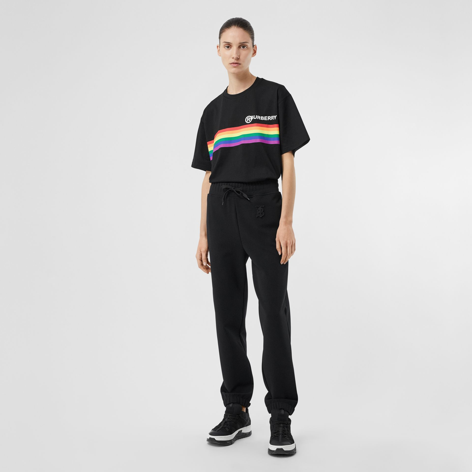 Rainbow Stripe Print Cotton Oversized T-shirt in Black - Women | Burberry United Kingdom - gallery image 0