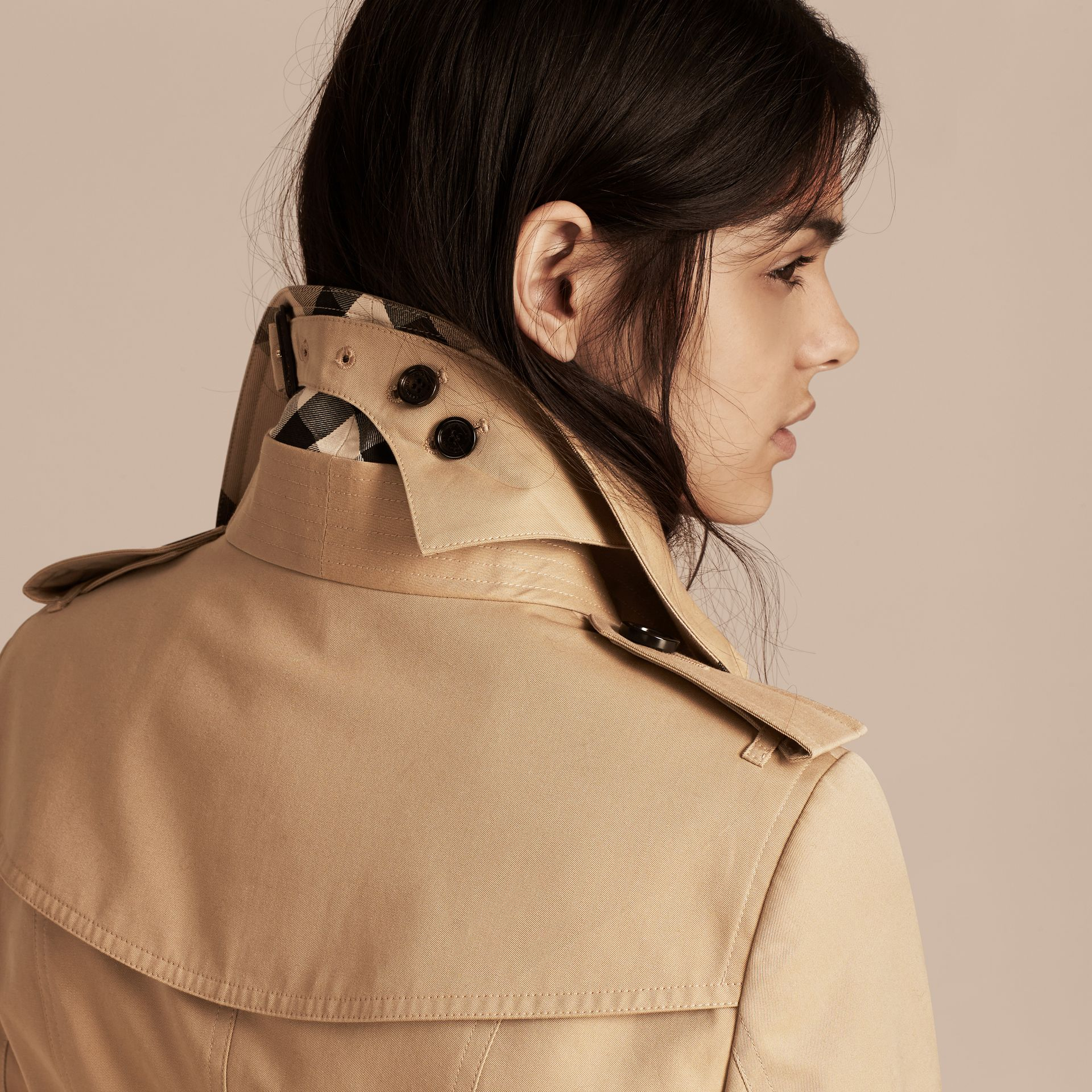 Honey Cotton Gabardine Trench Coat with Detachable Raccoon Collar - gallery image 6